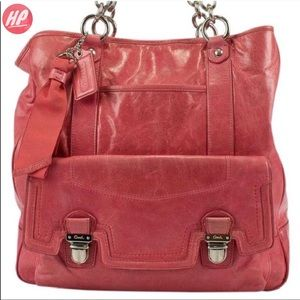 RARE COACH Poppy NorthSouth Raspberry Leather Tote
